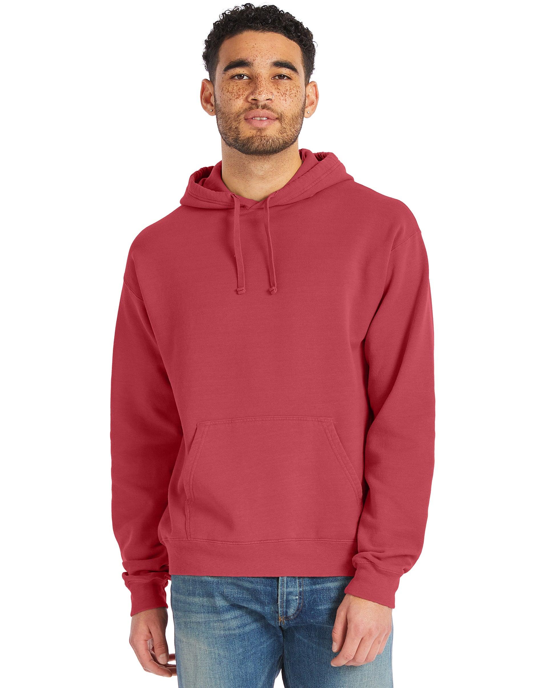 Hanes ComfortWash Garment Dyed Fleece Hoodie Sweatshirt Crimson Fall L Men's