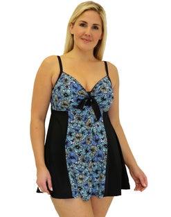 Fit 4 U Blocked Vintage Tie Front Swim Dress -- Chi Chi Blue
