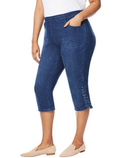 JMS 2 Pocket Capris with Lace Up Detail
