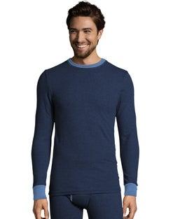 Hanes Men's 2-color Fusion Knit Thermal Crewneck