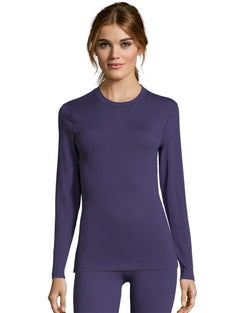 Hanes Women's Solid Color 4-Way Stretch Thermal Crewneck