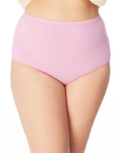 Just My Size Cool Comfort™ High-Waist Women's Cotton Brief Panties — 5-Pair Pack