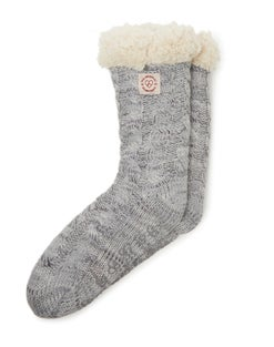 Dearfoams Women's Space-Dye Cable Knit Blizzard Slipper Sock