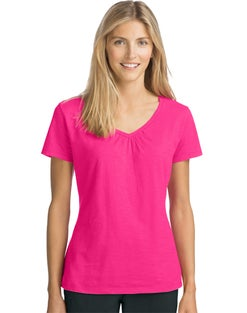 Hanes Women's Slub Jersey Shirred V-Neck Tee