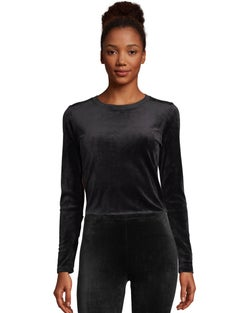 Warm & Cuddly by Cuddl Duds Women's Lightweight Velour Long Sleeve Crew