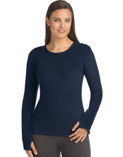 Warm & Cuddly by Cuddl Duds Women's Fleece Stretch Long Sleeve Crew