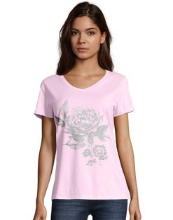 Hanes Women's Floral Semplice Short-Sleeve V-Neck Graphic Tee