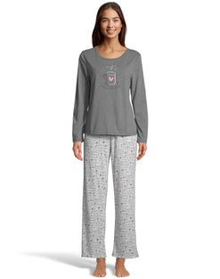 Hanes Women's Cotton Blend All-Over Print Notch Collar Sleep Set