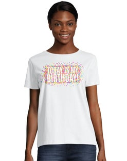 Women's ComfortSoft® Today is My Birthday Graphic Crewneck Tee