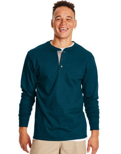Hanes Beefy-T Men's Long-Sleeve Henley