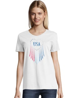 Hanes Women's Red White & Boom Short Sleeve Graphic Tee