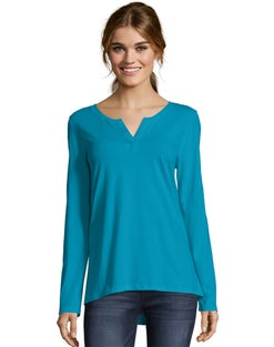 Hanes Women's Lightweight Split-Neck Tunic