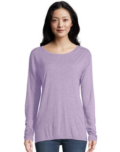 Hanes Women's Long-Sleeve Top with Center Back Lace Detail