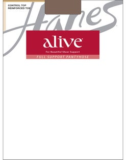 Hanes Alive Full Support Control Top Reinforced Toe Pantyhose