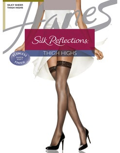 Hanes Silk Reflections  Thigh Highs, Reinforced Toe  3-Pack