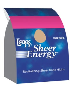 L'eggs  Sheer Energy Knee Highs, Reinforced Toe 5-Pack