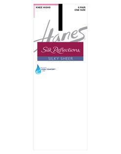 Hanes Silk Reflections Knee Highs, Reinforced Toe 6-Pack